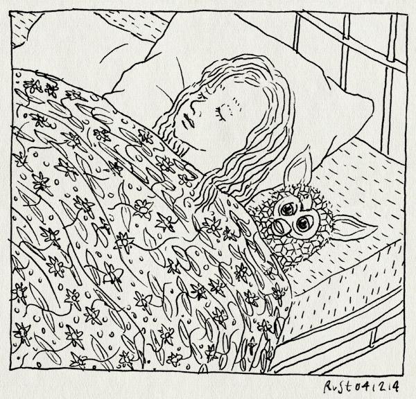 tekening 2750, alwine, bed, brrr, eng, furby, furby boom, gizmo, gremlin, slapen, wakker