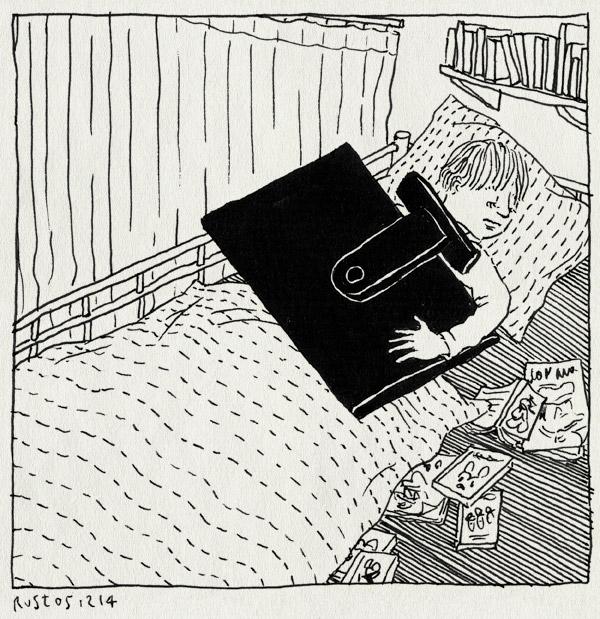 tekening 2751, bed, beeldscherm, hoogslaper, midas, monitor, schermpjes, slaap, slapen