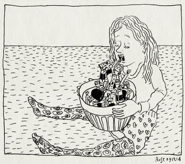 tekening 2753, alwine, bak, bram, feestje, kotsen, matijn, overgeven, snoep, ziek