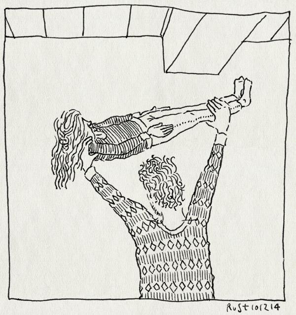 tekening 2756, alwine, gewichtheffen, plafond, plank, stoeien, tillen