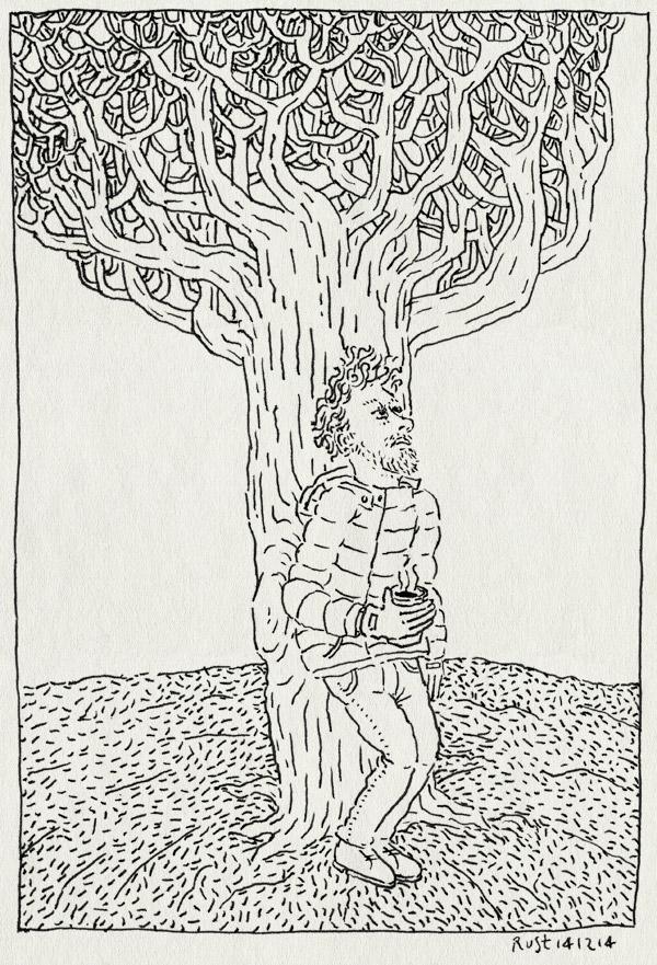 tekening 2760, alleen, artis, boom, koffie