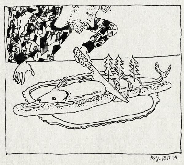 tekening 2764, alwine, basisschool, kerstboompjes, kerstdiner, kerstmis, makreel, prikkertjes, school, snijden, traktatie, vis