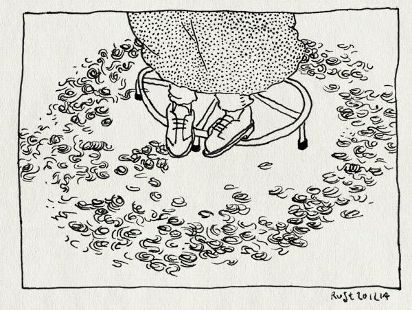 tekening 2766, cirkel, kapper, kappersstoel, knipsels, krullen, vloer, voeten