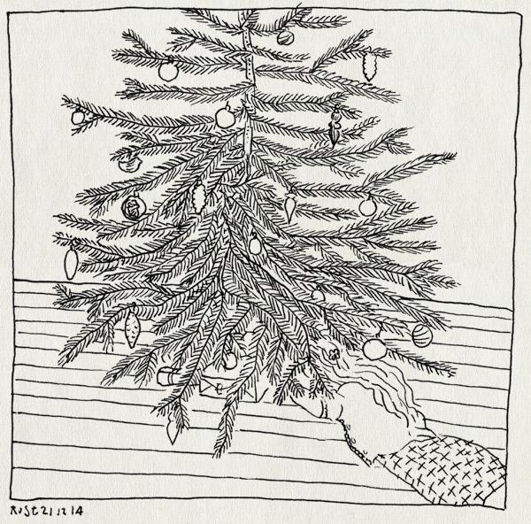tekening 2767, alwine, cadeautjes, kerstballen, kerstboom, nieuwsgierig, thuis, verstoppen