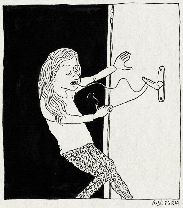 tekening 2769, alwine, deur, deurkruk, echt, groot, tand, touwtje, wiebeltand, wisselen