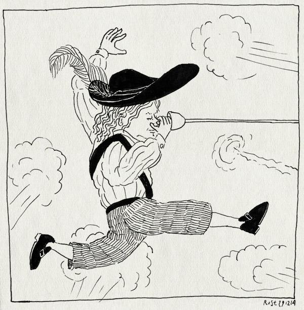 tekening 2775, boem, cyrano de bergerac, ro theater, rotterdam, voorstelling, wart, zere neus van bergerac