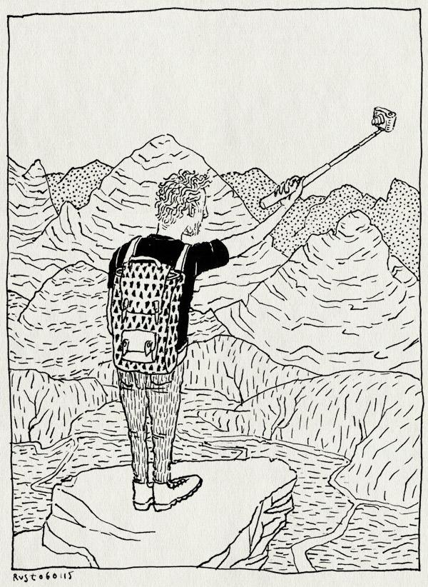 tekening 2783, bergen, cartoon, perspectied, selfie, selfiestick, uitzicht, view, wereldbeeld
