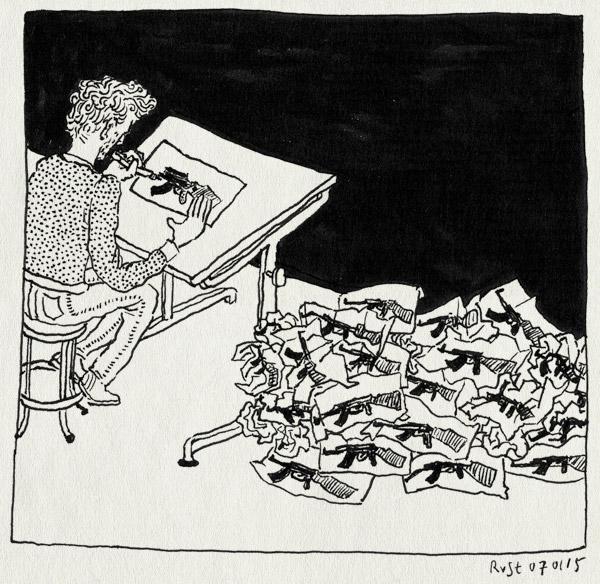 tekening 2784, aanslag, cartoon, cartoonistsinperil, charliehebdo, draw, draw a weapon, jesuischarlie, kalashnikov, paris, proppen, protest, reactie, tekenen, terrorist