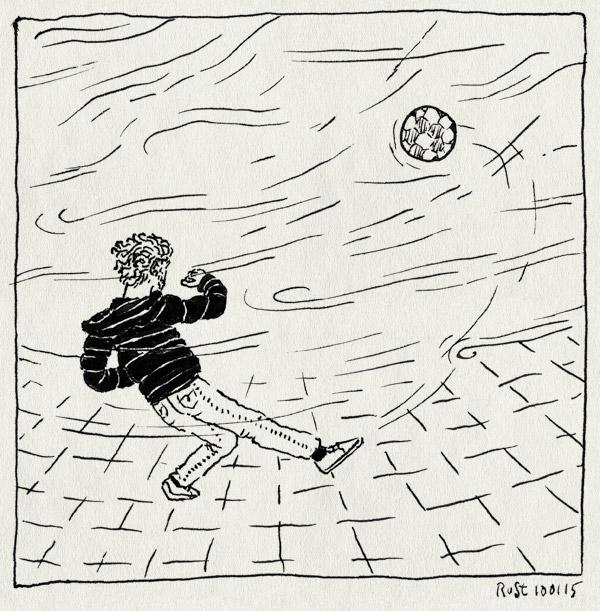 tekening 2787, alleen, bal, boemerang, dongeplein, storm, voetbal, wind