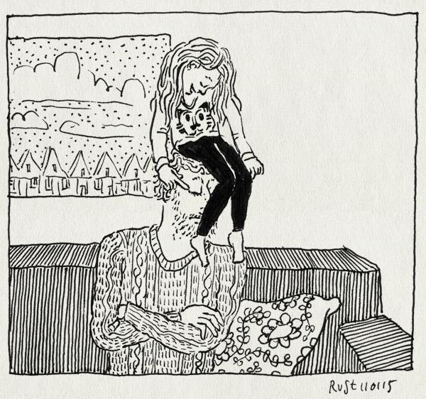tekening 2788, alwine, bank, dochter, hoofd, klieren, klimmen, pijn, space