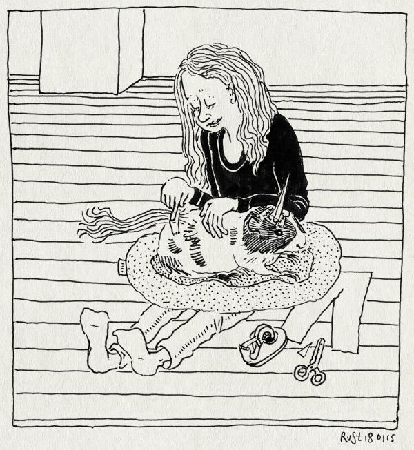 tekening 2795, alwine, bubbel, cavia, eenhoorn, knutselen, papier, plakband, schaar, verkleden