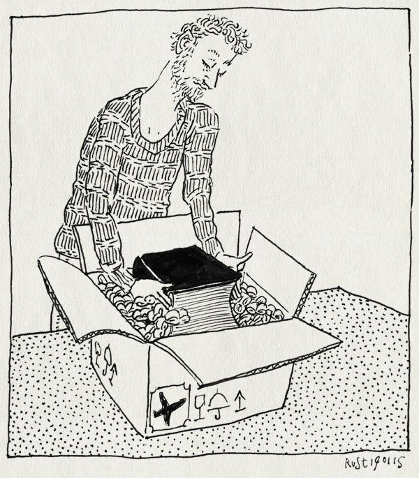 tekening 2796, 2500dagenrust, bescherming, buitenland, doos, inpakken, ver, versturen, voorzichtig, wokkels