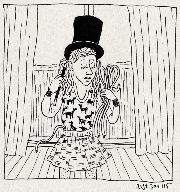 tekening 2807, alwine, deen, goochelaar, gordijnen, hoge hoed, touw, toverstok, trukado