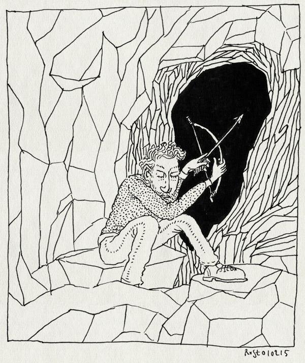 tekening 2809, bang, cave, donker, grot, minecraft, pijl en boog