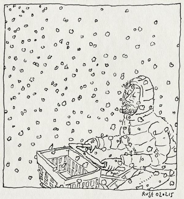 tekening 2810, brrr, fiets, fietsen, koud, nat, natte sneeuw, plakkerig, sneeuw