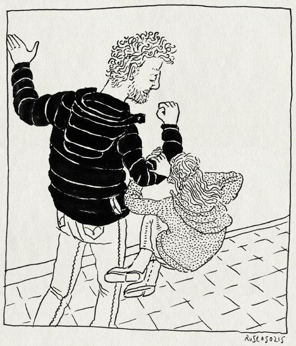 tekening 2813, alwine, een twee drie, hangen, springen, straat, zwaar