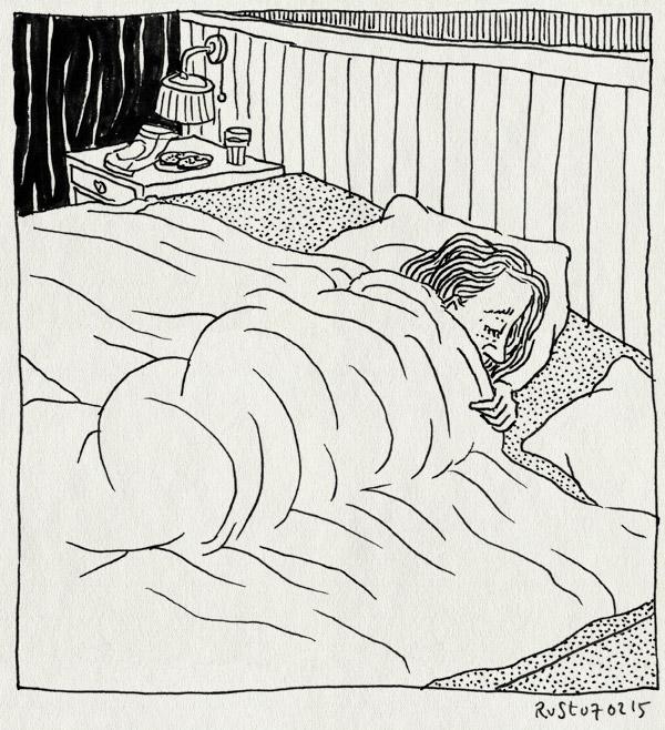 tekening 2815, bed, griep, martine, ziek, zielig