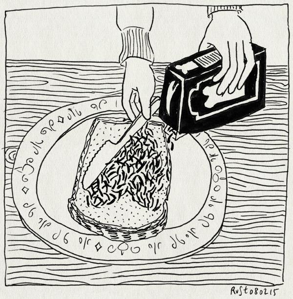 tekening 2816, broodje, hagelslag, hartje, martine, mes, ontbijten, ziek
