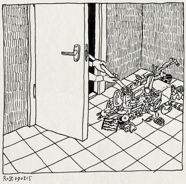 tekening 2817, alwine, bezem, declutter, deur, kamer, leegvegen, martine, opruimen, rommel, speelgoed