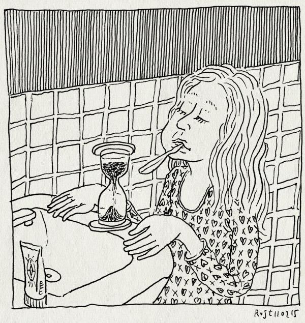 tekening 2819, alwine, badkamer, tanden poetsen, tijd, wachten, zandloper