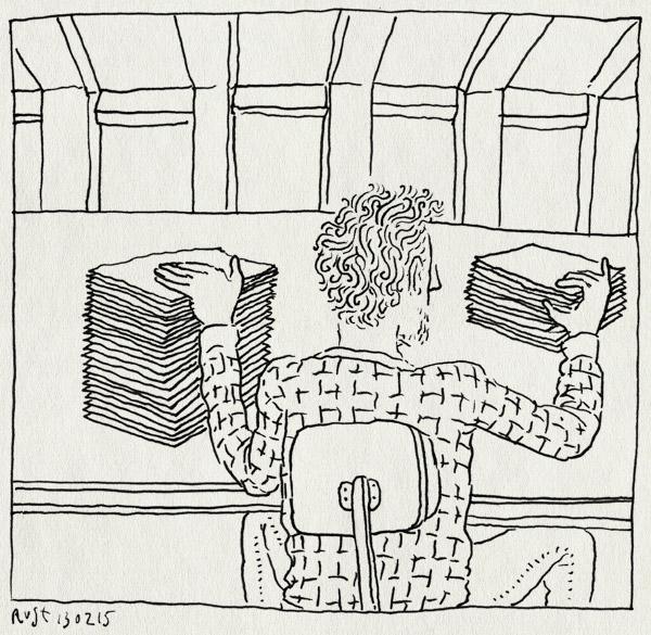 tekening 2821, burorust, stapel, studio, wegwerken, werk