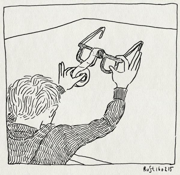 tekening 2824, bril, midas, plakband, plakken, stuk