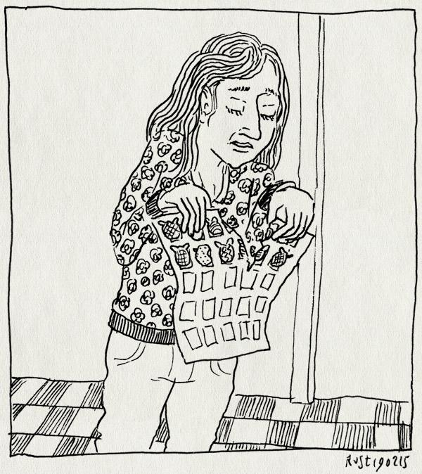 tekening 2827, aankleden, doorscheuren, furbystickers, martine, ochtendritueel, stickerkaart