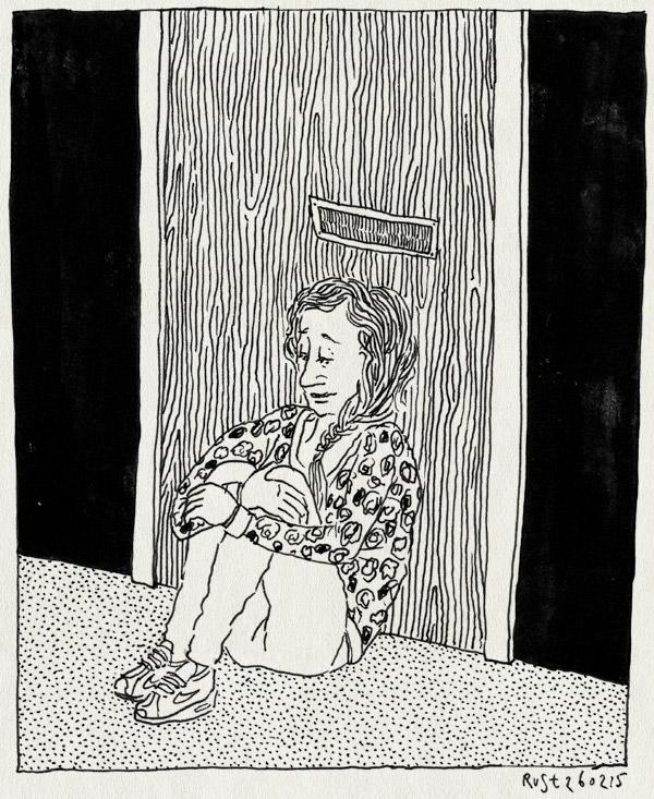 tekening 2834, brievenbus, de mannen van raan, deur, drukker, martine, post, wachten