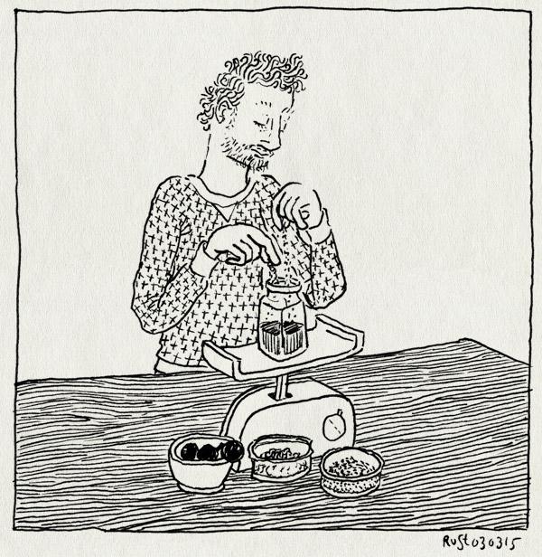 tekening 2839, arabische gom, brouwen, galappels, galinkt, galnoten, ijzersulfaat, mengen, potjes, weegschaal