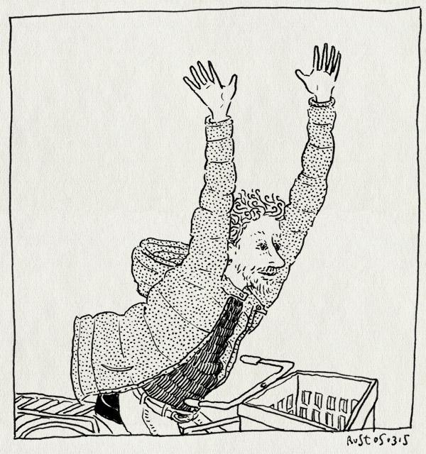 tekening 2841, armen, buiten, fiets, jas los, jippie, juichen, lente, open jas