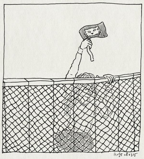 tekening 2844, alwine, fan, hek, juichen, ovvo, ovvo cats, publiek, supporter, vlaggetje, zelfgemaakt