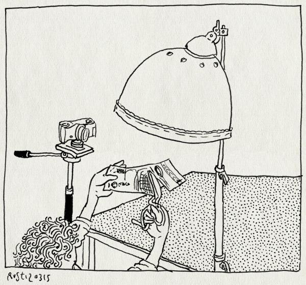 tekening 2848, bankbiljet, camera, filmen, geld, knippen, lamp, schaar, werk