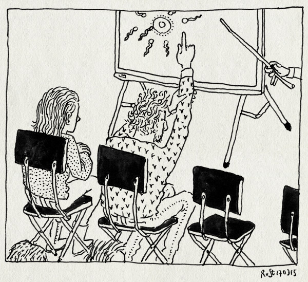 tekening 2853, klas, meerkat, meester, ouderavond, schoolbankjes, schoolbord, seksualiteit, vinger