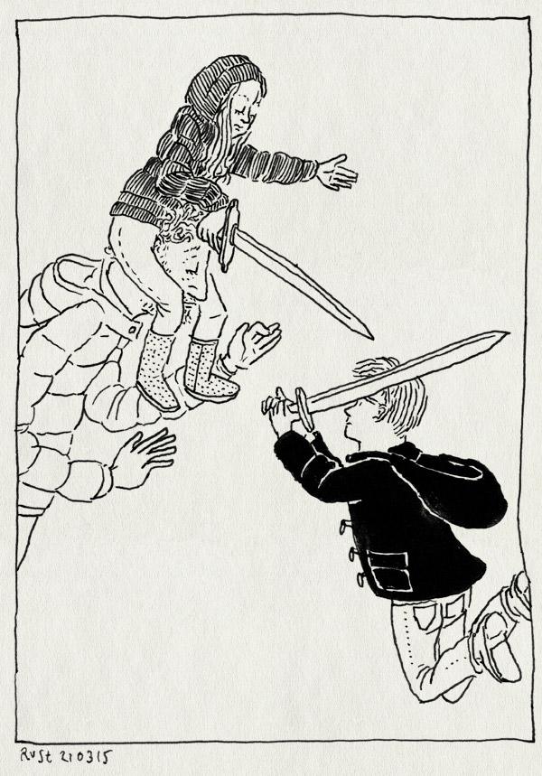tekening 2857, alwine, broer, leuke dag, midas, op de nek, op m'n schouders, weekend, zus, zwaarden, zwaardvechter