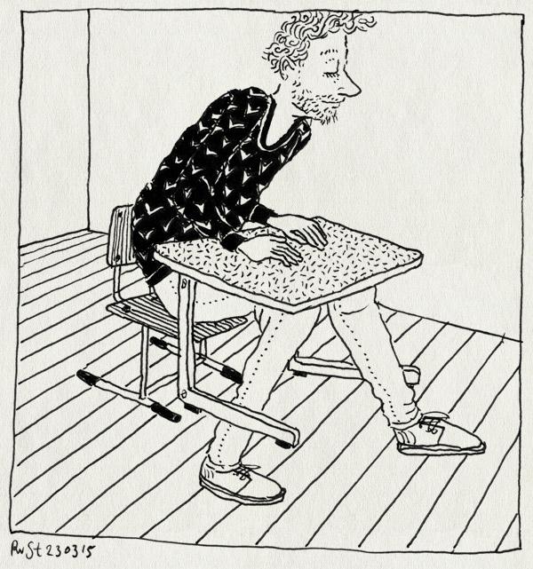 tekening 2859, dws, groot, klas, klein, ouderavond, schoolbank, stoeltje, tafeltje