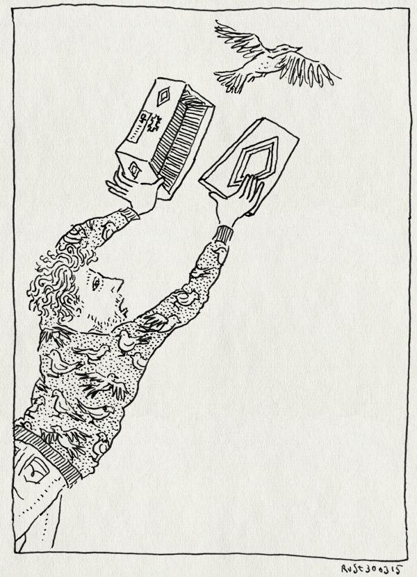 tekening 2866, paasdoos, schoenendoos, vangen, vogel, vogeltje, vogeltrui
