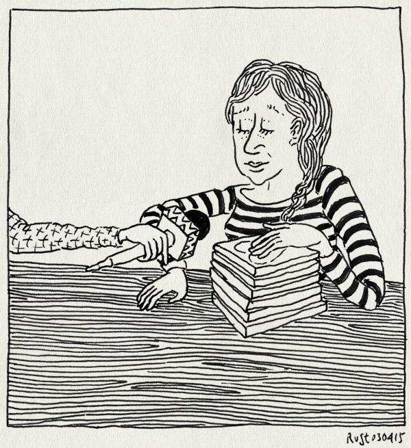 tekening 2870, boeken, de mannen van raan, interview, martine, microfoon, thuis