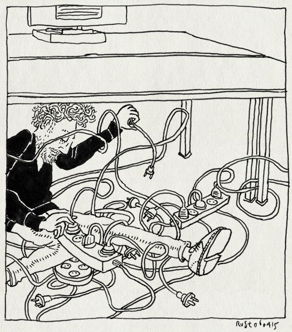 tekening 2873, burorust, kabels, knopen, opruimen, snoeren, tafel