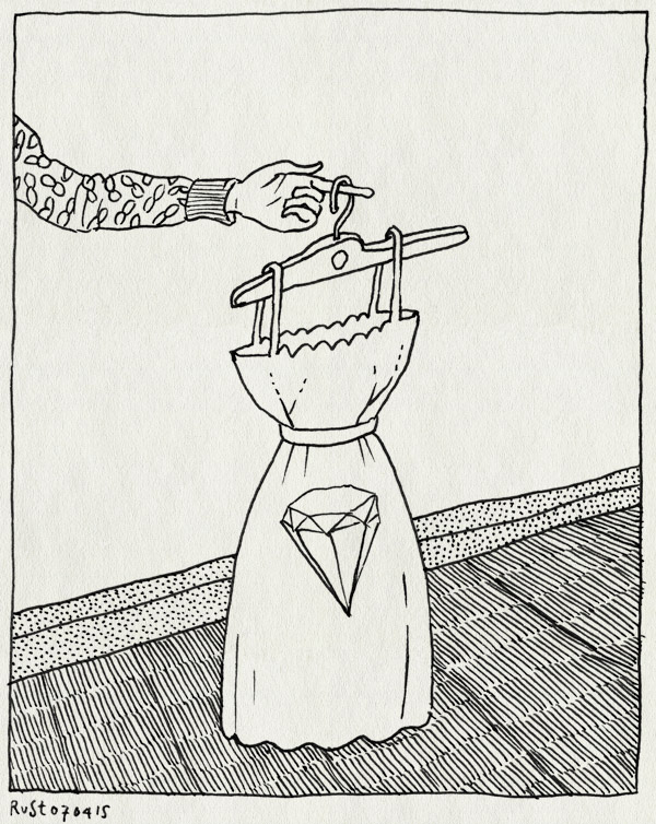 tekening 2874, diamant, duur, fwf, jurkje, kledenhanger, werk