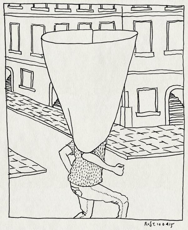 tekening 2877, amsterdam, cone, rokjesdag, straat, trechter, zon