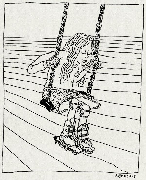 tekening 2878, alwine, dongeplein, inline skates, kniebeschermers, nieuw, polsbeschermers, schommel, skates