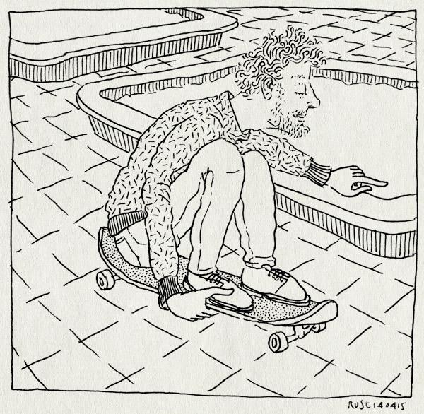 tekening 2881, dongeplein, skateboard, skaten, vader