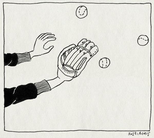 tekening 2883, drie, honkbal, links gooien, linkshandig, meedoen, rechts vangen, vader