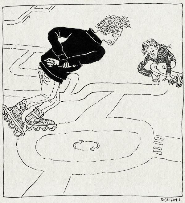 tekening 2884, alwine, dongeplein, krijt, krijten, rotonde, skaten, verkeer, verkeersplein, weg