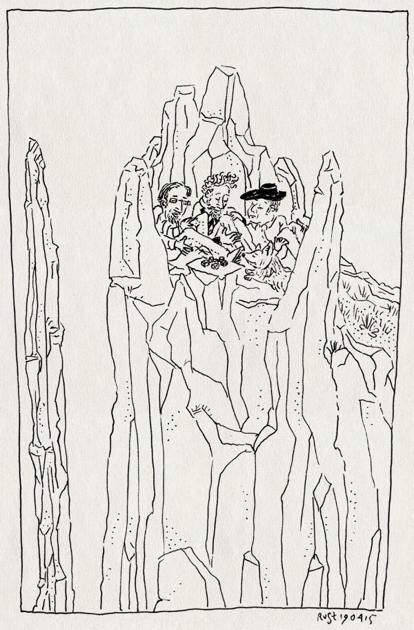 tekening 2886, ardennen, chaleux, dobbelen, dobbelstenen, evan, fergus, jurgen, lesse, rotsen, spelen, yahtzee