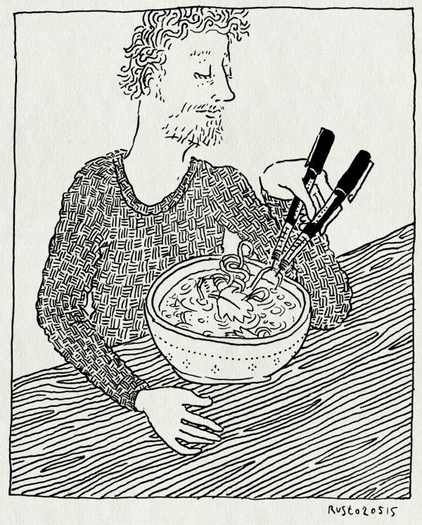 tekening 2899, aziatisch, berlijn, eten, koreaans, koriander, noodles, pennen, pictoplasma, pictoplasma15, stokjes, vietnamees