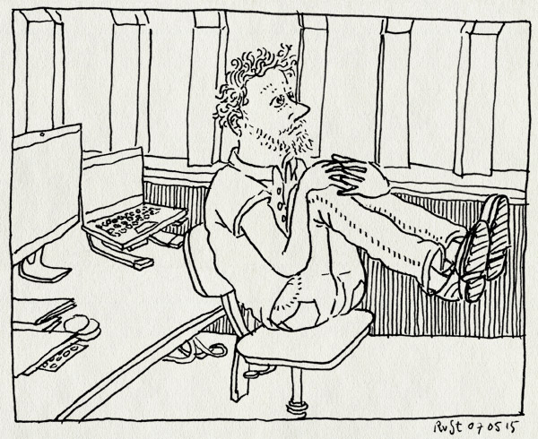 tekening 2904, burorust. nadenken, concentratie, werk