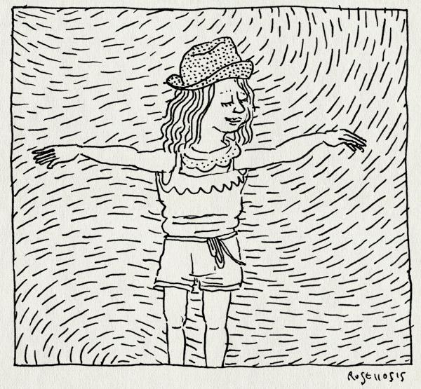 tekening 2908, alwine, broekpak, fashionista, hoedje, kleren