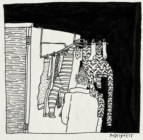 tekening 2916, deur, hangen, nacht, staan, was, wasrek, weg