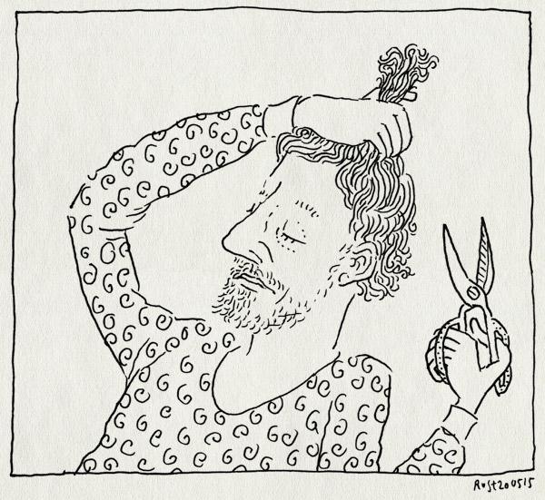 tekening 2917, haar, kapper, krullen, schaar